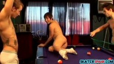 Two twinks join forces and whip their friend on pool table
