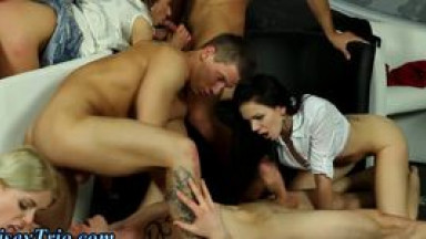 Bisex fuckers shoot cum in hot orgy
