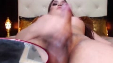 sexy big tits shemale jerk on cam