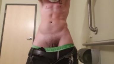 trans guy public bathroom piss