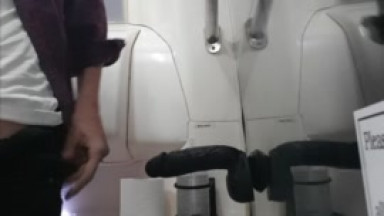 dildo fuck and piss on a coach