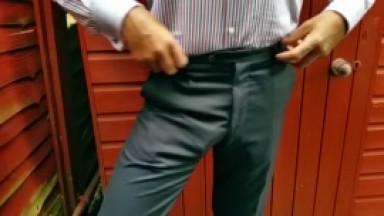 freeballing #3 in worn paul smith suit trousers