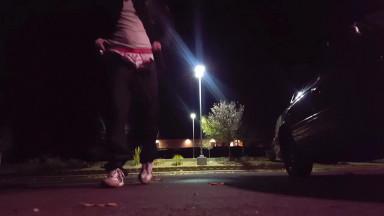 trans guy double parking lot piss