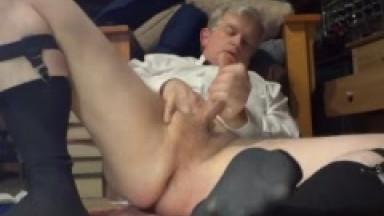 daddy masturbating again in long black socks