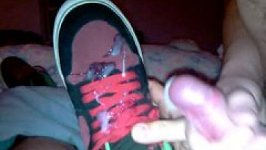 threeway 3 way - fuck and cum on emerica sneakers